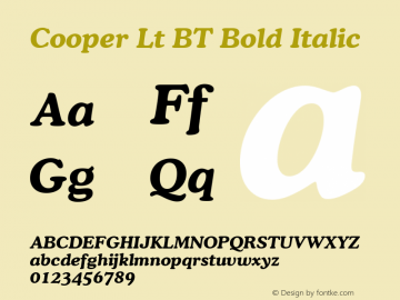 Cooper Lt BT Bold Italic mfgpctt-v1.53 Friday, January 29, 1993 3:42:59 pm (EST) Font Sample