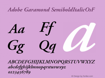 Adobe Garamond SemiboldItalicOsF Version 001.002 Font Sample