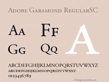 Adobe Garamond RegularSC Version 001.003 Font Sample