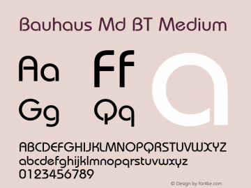 Bauhaus Md BT Medium mfgpctt-v4.4 Jan 4 1999 Font Sample