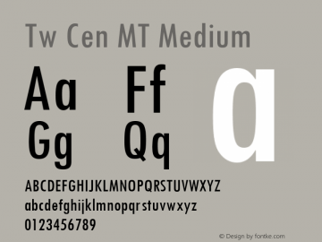 Tw Cen MT Medium 001.002 Font Sample