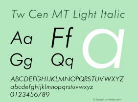 Tw Cen MT Light Italic 001.002 Font Sample