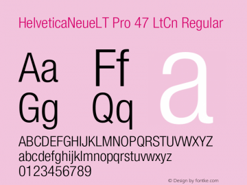 HelveticaNeueLT Pro 47 LtCn Regular Version 1.000;PS 001.000;Core 1.0.38 Font Sample