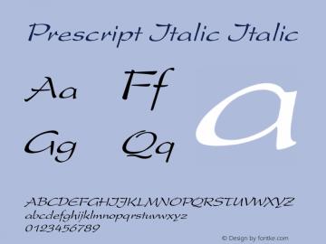 Prescript Italic Italic Unknown Font Sample
