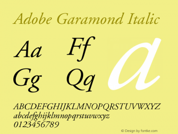 Adobe Garamond Italic Version 001.002 Font Sample