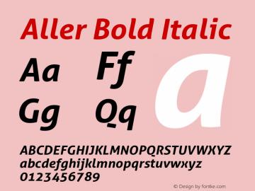 Aller Bold Italic Version 1.00 Font Sample