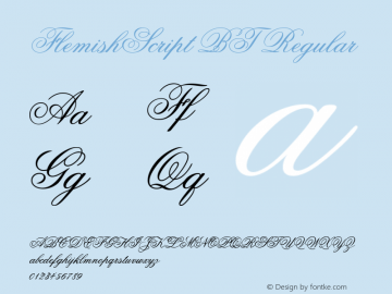 FlemishScript BT Regular Version 2.001 mfgpctt 4.4 Font Sample