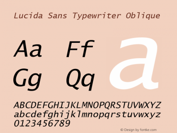 Lucida Sans Typewriter Oblique Version 1.00 Font Sample
