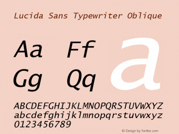 Lucida Sans Typewriter Oblique Version 1.50 Font Sample