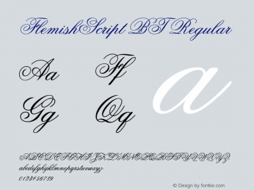 FlemishScript BT Regular Version 1.01 emb4-OT Font Sample