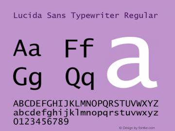Lucida Sans Typewriter Regular UGL 1.002; 12 December 1991 Font Sample