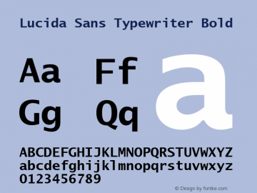 Lucida Sans Typewriter Bold 30 October 2001; 1.21 (JAVA) Font Sample