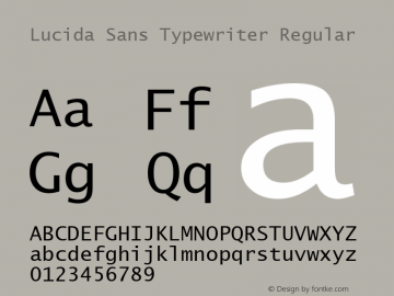 Lucida Sans Typewriter Regular 18 July, 1999; 1.10 (JAVA) Font Sample