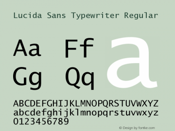Lucida Sans Typewriter Regular September 21, 1998; 1.00 (JAVA) Font Sample