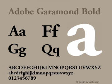 Adobe Garamond Bold Version 001.002 Font Sample