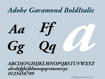 Adobe Garamond BoldItalic Version 001.002 Font Sample