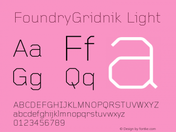 FoundryGridnik Light Version 001.000 Font Sample