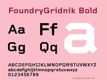 FoundryGridnik Bold Version 001.000 Font Sample