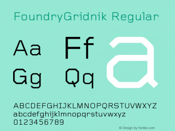 FoundryGridnik Regular Version 001.000 Font Sample