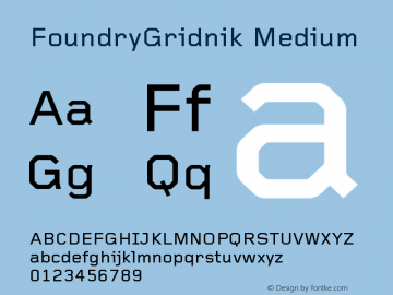 FoundryGridnik Medium Version 001.000 Font Sample