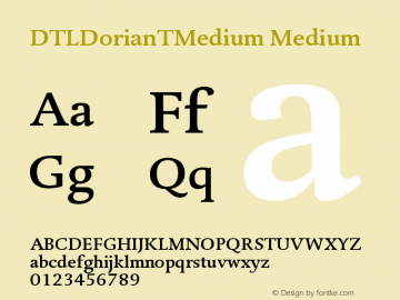 DTLDorianTMedium Medium Version 001.000 Font Sample