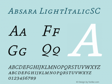 Absara LightItalicSC Version 004.460图片样张