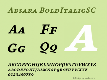 Absara BoldItalicSC Version 004.460图片样张
