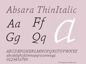 Absara ThinItalic Version 004.460图片样张