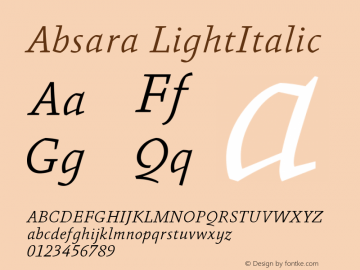 Absara LightItalic Version 004.460图片样张