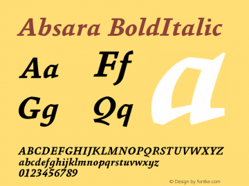 Absara BoldItalic Version 004.460图片样张
