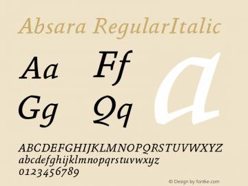 Absara RegularItalic Version 004.460 Font Sample