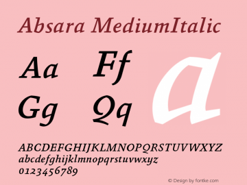 Absara MediumItalic Version 004.460图片样张
