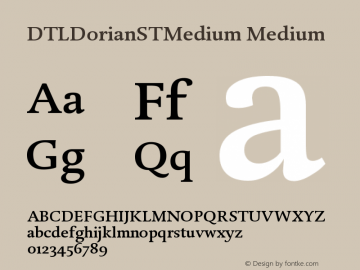 DTLDorianSTMedium Medium Version 001.000 Font Sample
