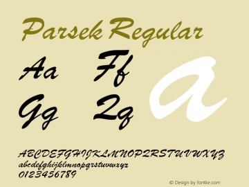 Parsek Regular Converted from h:\font\PARSEK.TF1 by ALLTYPE Font Sample