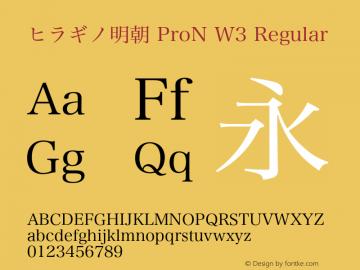 ヒラギノ明朝 ProN W3 Regular Version 8.00图片样张
