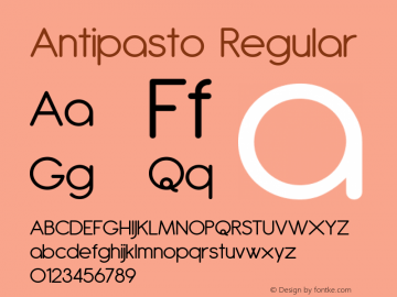 Antipasto Regular Version 2.003 2007 Font Sample