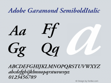 Adobe Garamond SemiboldItalic Version 001.002 Font Sample