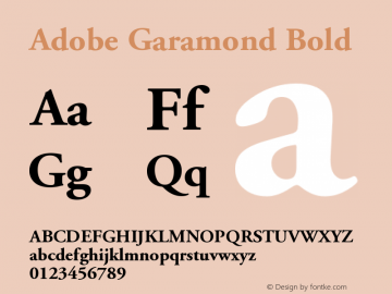 Adobe Garamond Bold Version 001.003 Font Sample