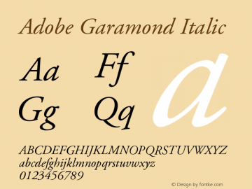 Adobe Garamond Italic Version 001.003 Font Sample