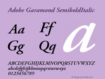 Adobe Garamond SemiboldItalic Version 001.003 Font Sample