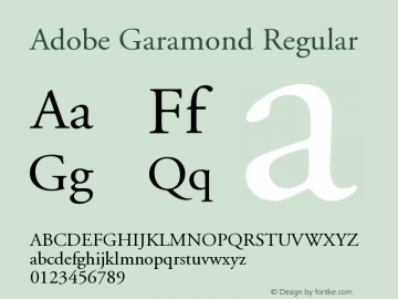 Adobe Garamond Regular Version 001.003 Font Sample