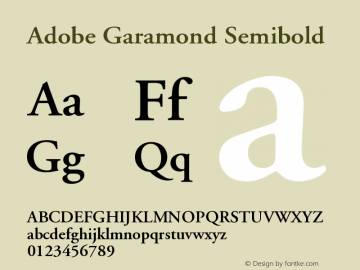 Adobe Garamond Semibold Version 001.003 Font Sample