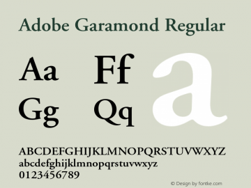 Adobe Garamond Regular Version 1.100;PS 001.001;hotconv 1.0.38 Font Sample