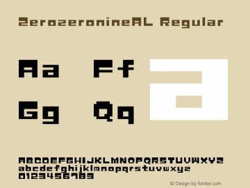 ZerozeronineAL Regular Macromedia Fontographer 4.1J 04.12.29 Font Sample