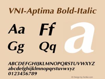 VNI-Aptima Bold-Italic 1.0 Sun Apr 25 08:46:30 1993 Font Sample