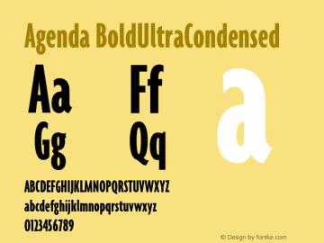 Agenda BoldUltraCondensed Version 001.000 Font Sample