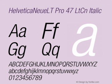 HelveticaNeueLT Pro 47 LtCn Italic Version 1.000;PS 001.000;Core 1.0.38 Font Sample