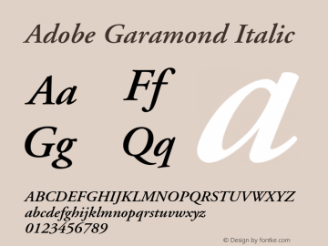 Adobe Garamond Italic Version 1.100;PS 001.001;hotconv 1.0.38 Font Sample