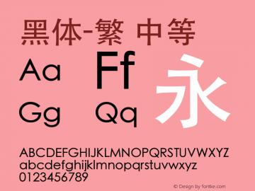 黑体-繁 中等 7.0d5e3 Font Sample