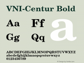 VNI-Centur Bold 1.0 Sun Apr 25 09:01:13 1993 Font Sample